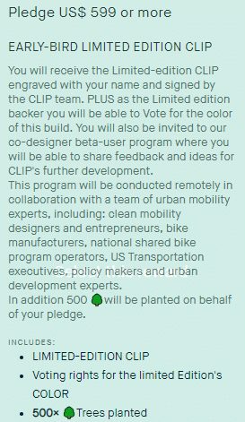 CLIP is offering multiple perks like trees planting for backers of their products.