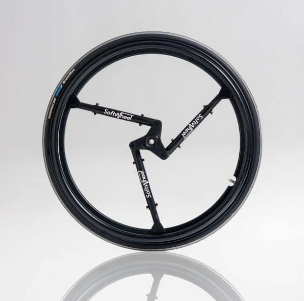 Softwheel has three suspension arms attached to the wheel frame. Image via Bike-on