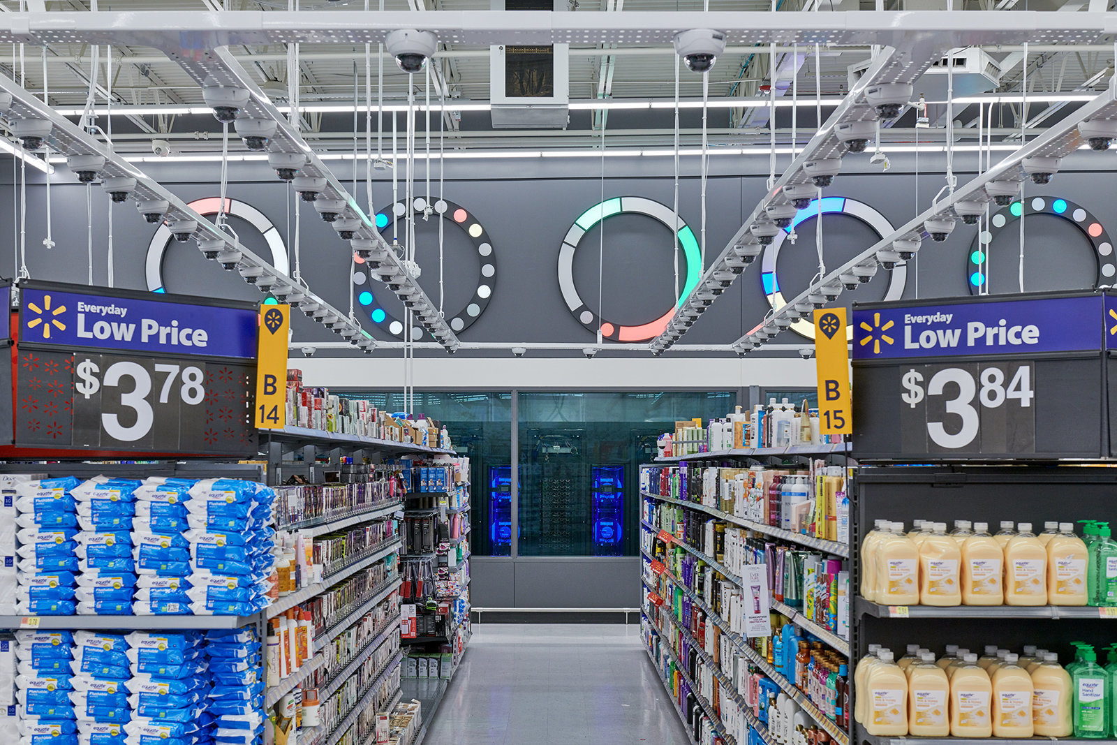 There are AI-enabled cameras above almost all the products in the new concept store. Image via Walmart