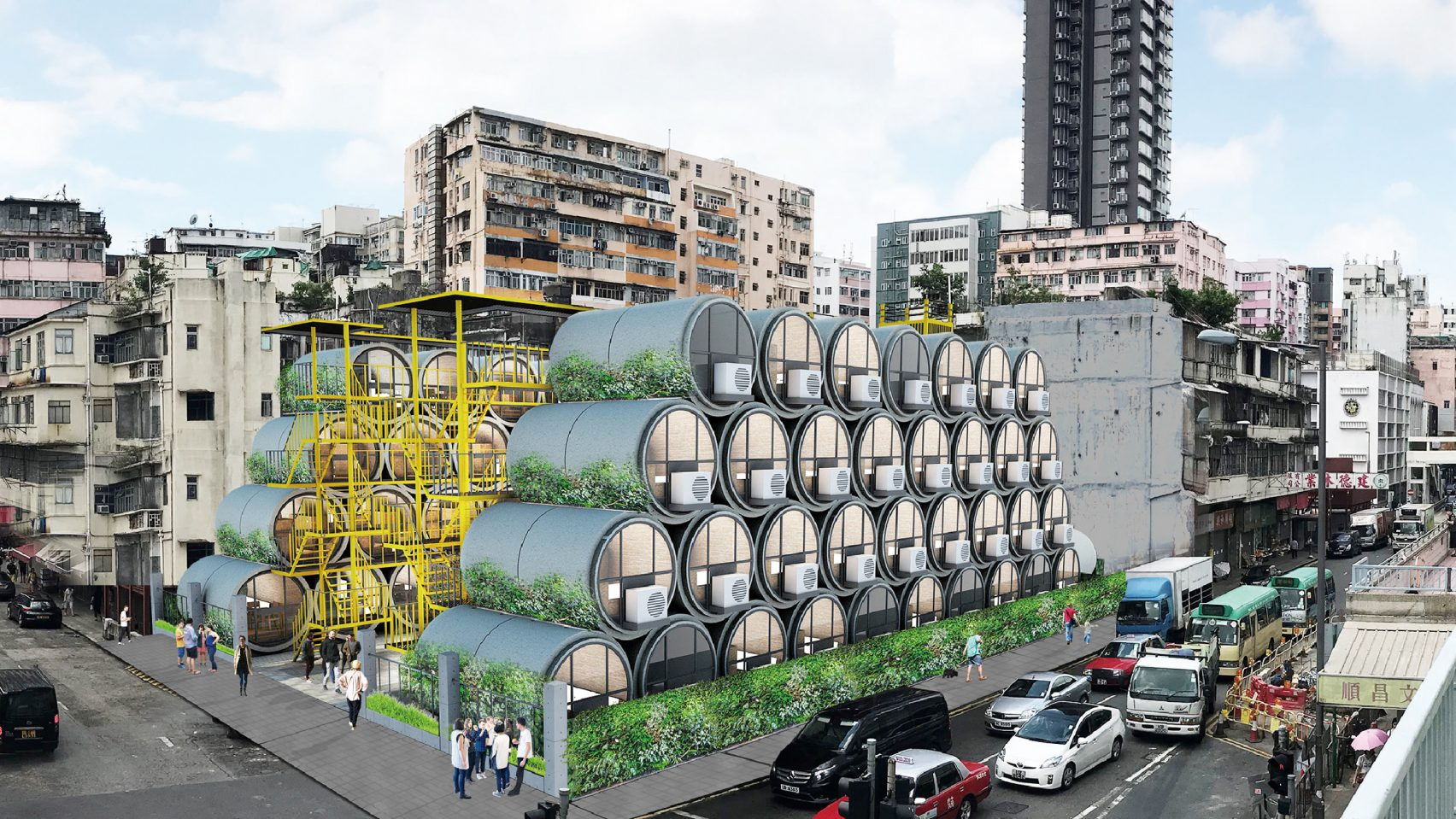 OPod tube houses can easily shift its pipe location to different sites of the city. Image via James Law Cybertecture