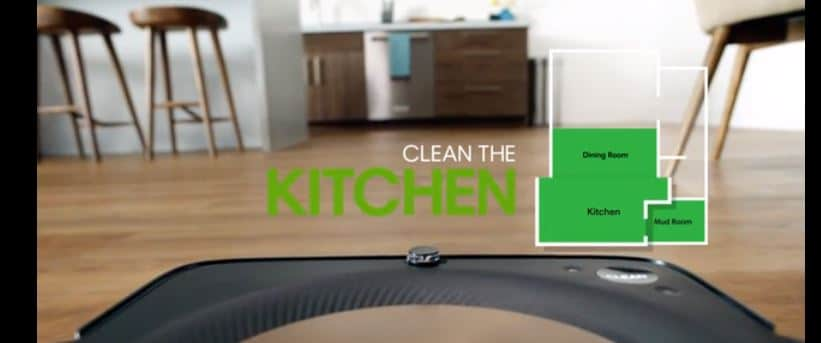 The machine can respond to voice commands of the user to clean a specific room. Image via iRobot