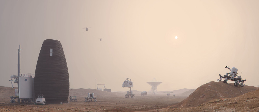 The image shows a prevision of future human life in Mars. Image via NASA