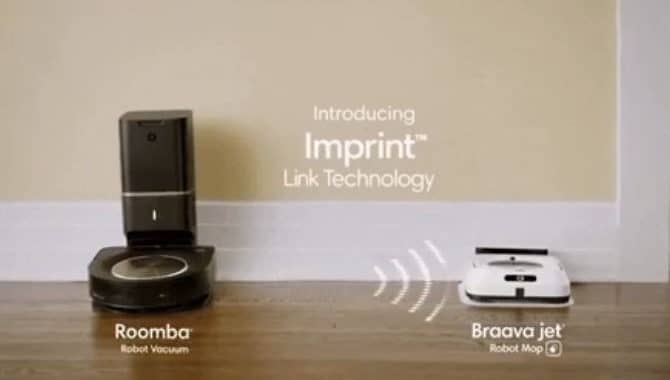 The imprint link technology allows the Roomba to communicate with the Braava jet to perform the cleaning. Image via iRobot