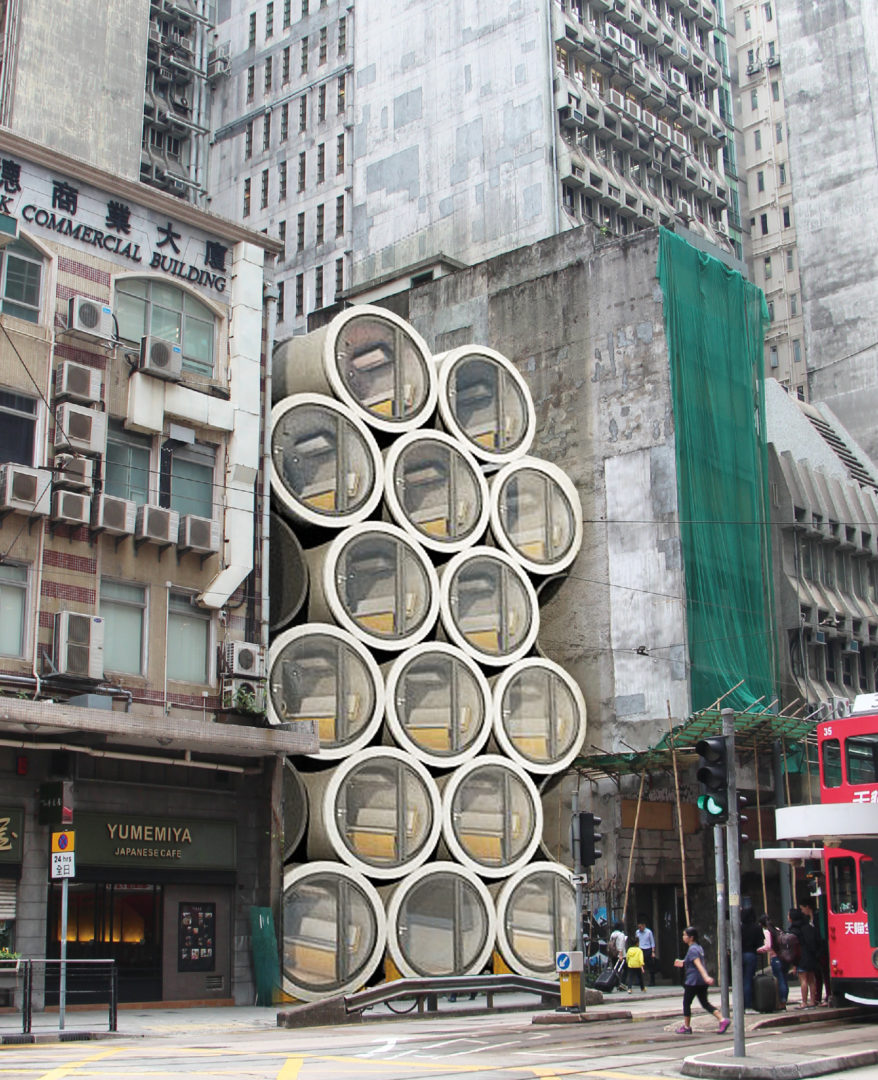 The illustration shows the tube homes in between of high rise buildings. Image via James Law Cybertecture