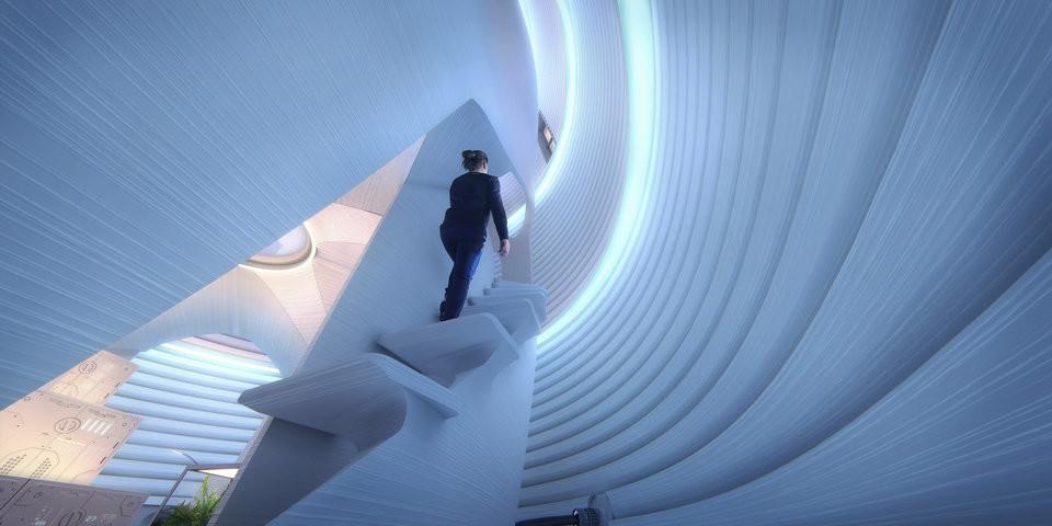 An astronaut walks up the stairs of the pod. Image via NASA