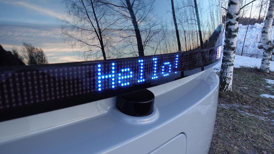The bus has LED screens which sends out message to waiting passengers. Image via Muji